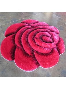 Magnificent Vivid 3D Blooming Rose Dacron Anti Skid Rug