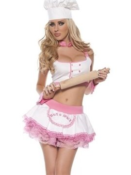 Sexy And Beautiful Pink Female Chef Costume