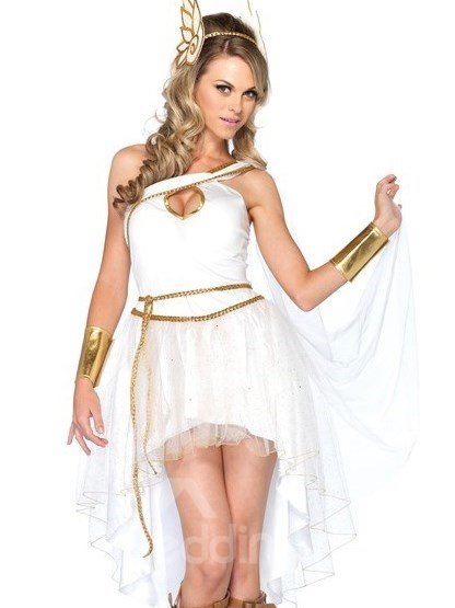 Beautiful Pure White One Shoulder Dress Greek Goddess Costume