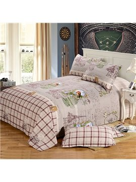 """Good Morning"" Designed Countryside Style Cotton Printed Sheet"