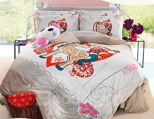 Super Cute Pony and Flower Print 3-Piece Duvet Cover Sets