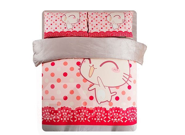 Favorite Cartoon Cat Print 3-Piece Coral Fleece Duvet Cover Sets