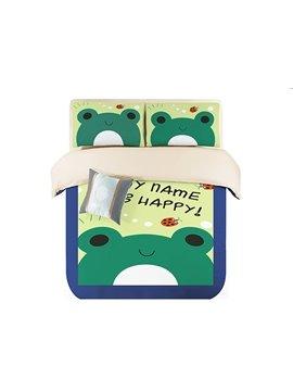 Doug Frog Print 3-Piece Coral Fleece Duvet Cover Sets