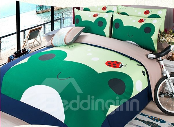 Doug Frog Print 3-Piece Coral Fleece Duvet Cover Sets
