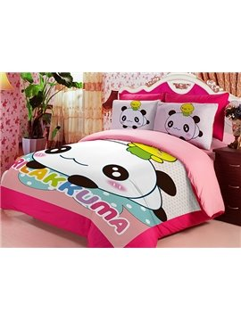 Naughty Panda Print 3-Piece Coral Fleece Duvet Cover Sets