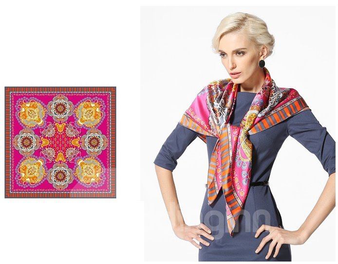 Symmetrical Flower Pattern Mulberry Silk Shawl Square Scarf