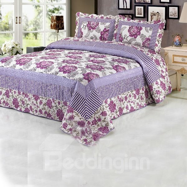 Stripe and Adorable Purple Flowers Printed Bed in a Bag