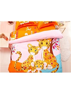 Leopard Family Print 4-Piece Natural Cotton Duvet Cover Sets