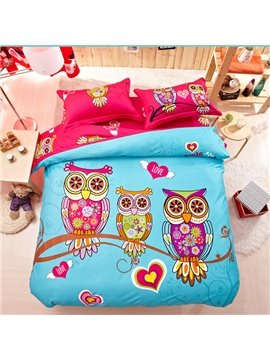 Family of Little Owls Print 4-Piece Natural Cotton Duvet Cover Sets