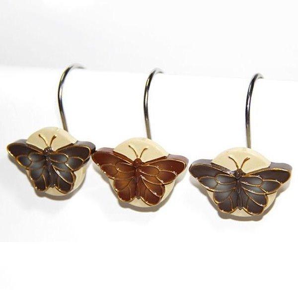 Retro European Romantic Butterfly 12 Piece Shower Curtain Hooks