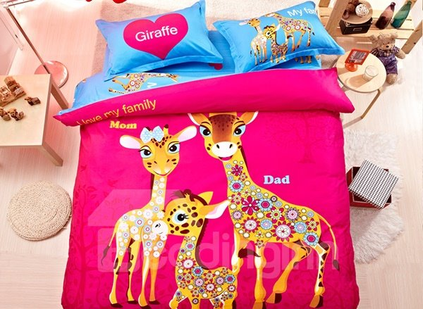 Beautiful Giraffe Family Print 4-Piece Natural Cotton Duvet Cover Sets 11270581