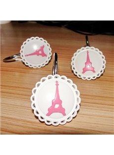 Romantic Lace Rim Eiffel Tower 12-piece Shower Curtain Hooks