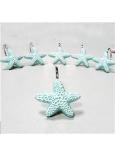 Gorgeous Durable Starfish 12-Pieces Resin Shower Curtain Hooks