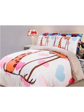 Love of Elephant and Giraffe Print 4-Piece Coral Fleece Duvet Cover Sets