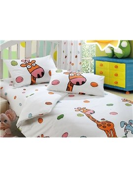 Giraffe and Blue Rabbit Print 4-Piece Combed Cotton Duvet Cover Sets