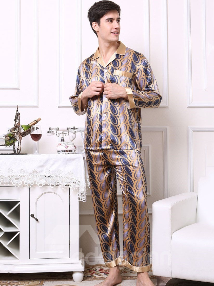 Dark Blue And Golden Mix Contra Edged Cuff And Collar Artificial Silk Pajama Set