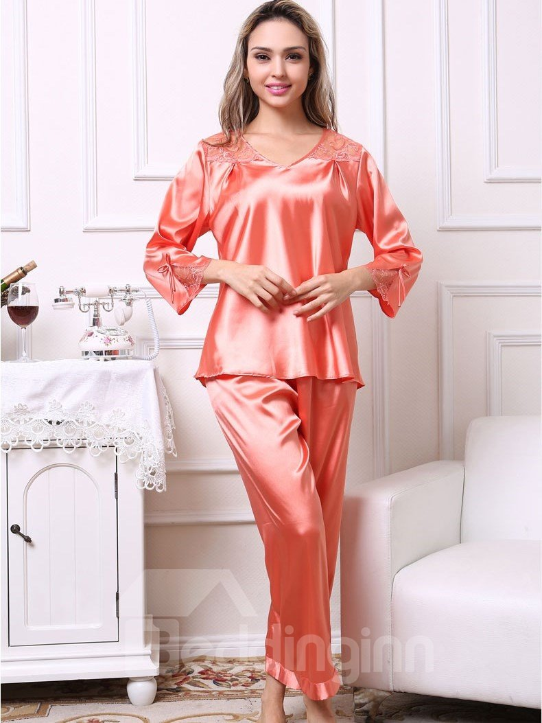 Cute Bowtie And Lace Cuffs Ruffled Bust Artificial Silk Pajama Set