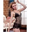 High Quality Sexy Black Lace Adjustable Shoulder Straps Cami Set