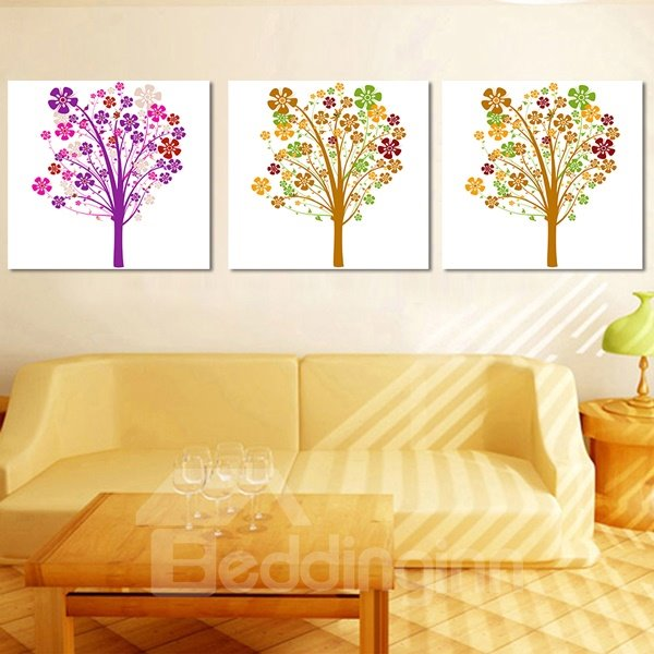 Fantastic Colorful Trees 3-Piece Crystal Film Art Wall Print