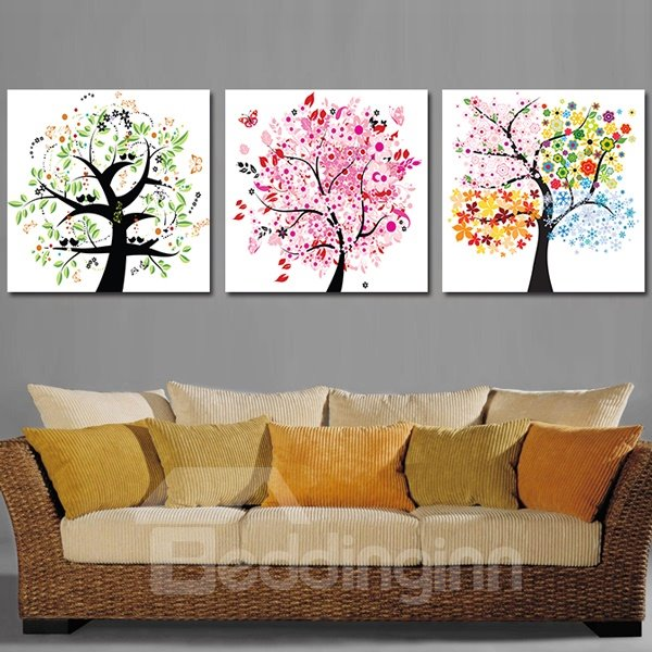Pretty Colorful Flower Trees 3-Piece Crystal Film Art Wall Print