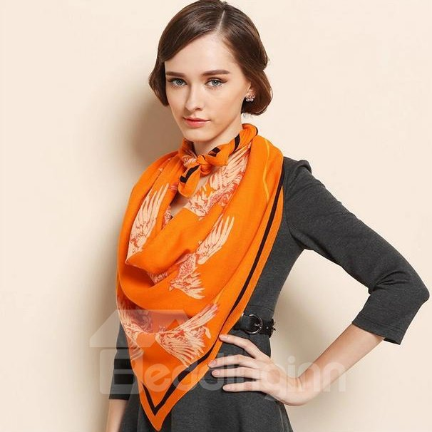 Flying Wings Pattern Hand Made Edge Wool Square Shawl Scarf