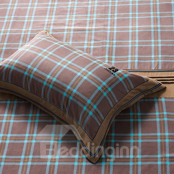 Charming Plaid Pattern 4-Piece Cotton Duvet Cover Sets