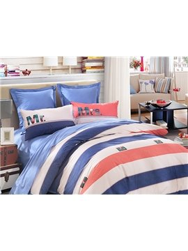 Mr&Mrs Stripe Pattern 4-Piece Cotton Duvet Cover Sets