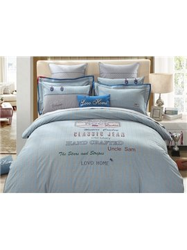Classical Jean Pattern 4-Piece Cotton Duvet Cover Sets