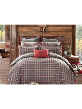 Red Grid Pattern 4-Piece Cotton Duvet Cover Sets
