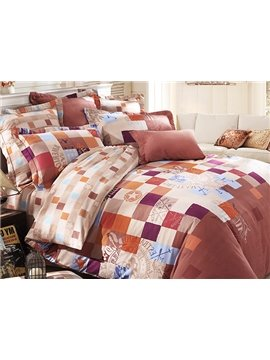 Modern Time Grid Pattern 4-Piece Cotton Duvet Cover Sets