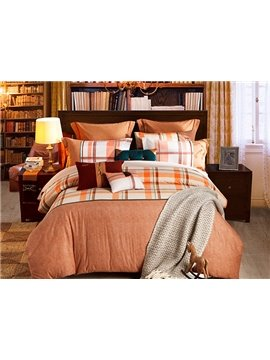 Checked Camel 4-Piece Cotton Duvet Cover Sets