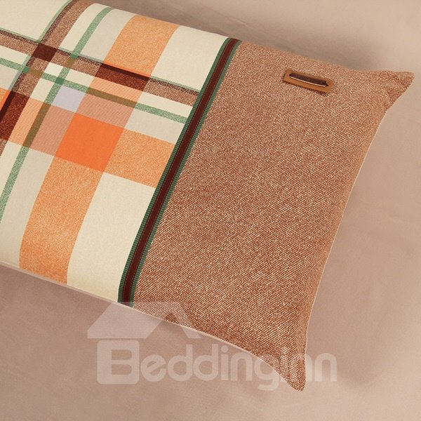 Checked Camel 4-Piece Cotton Duvet Cover Sets