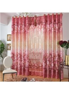 Romantic Pink Roses Print Grommet Top Curtain