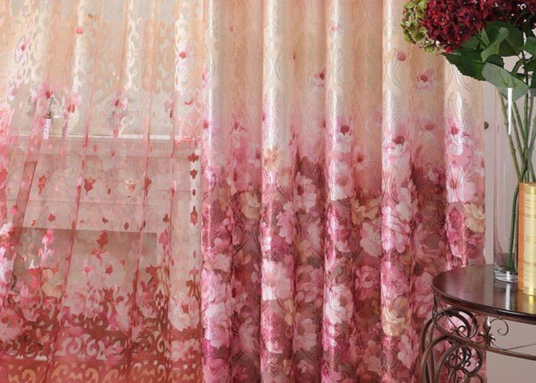 Romantic Pink Roses Print Grommet Top Curtain