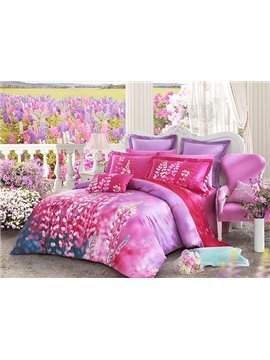 Dull Ice Flower Print 4-Piece Cotton Duvet Cover Sets