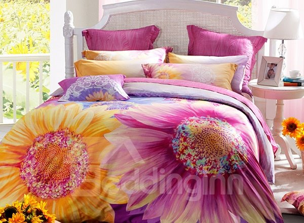 Pink and Yellow Sunflowers Print 4-Piece Cotton Duvet Cover Sets