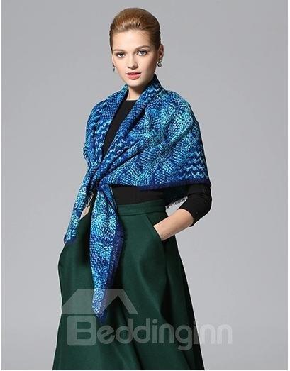 Knitting Yarn Pattern Huge Wool Shawl Square Scarf