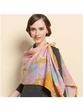 Artistic Tide Of Colorful Ink Pattern Huge Wool Long Scarf
