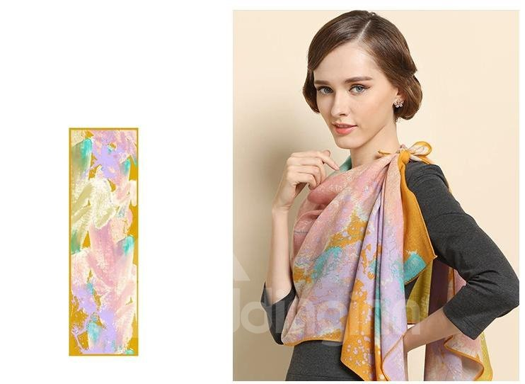 Artistic Tide Of Colorful Ink Pattern Huge Wool Long Scarf
