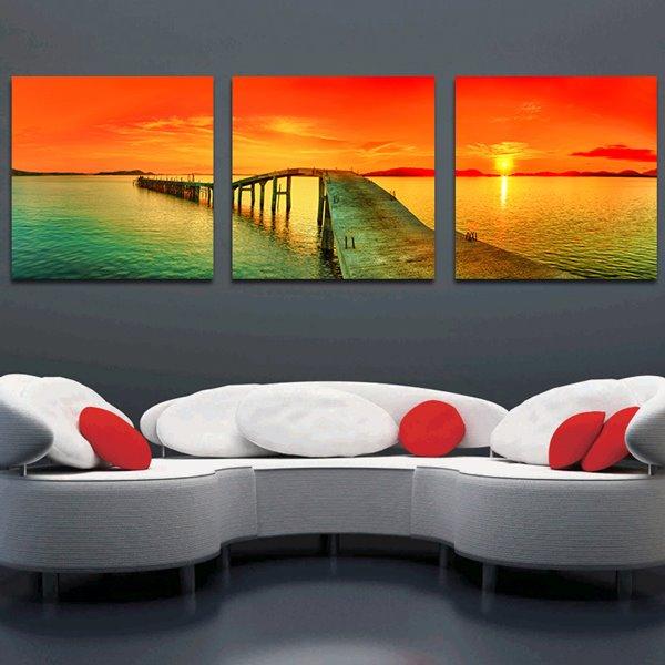 Beautiful Sunset 3-Piece Crystal Film Art Wall Print