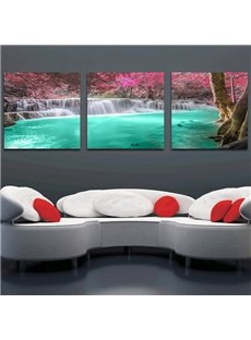 Waterfall with Green Water 3-Piece Crystal Film Art Wall Print