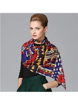 Classic Design Different Shapes Multi-color Wool Long Scarf