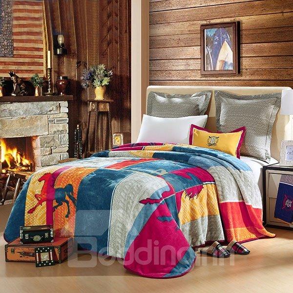 Soft Geometric and Horses Printed American Style  Raschel Blanket