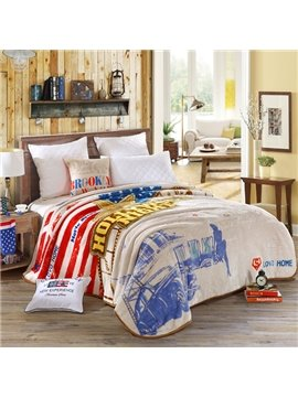 Stars, Strips and Modern City Printed American Style  Raschel Blanket