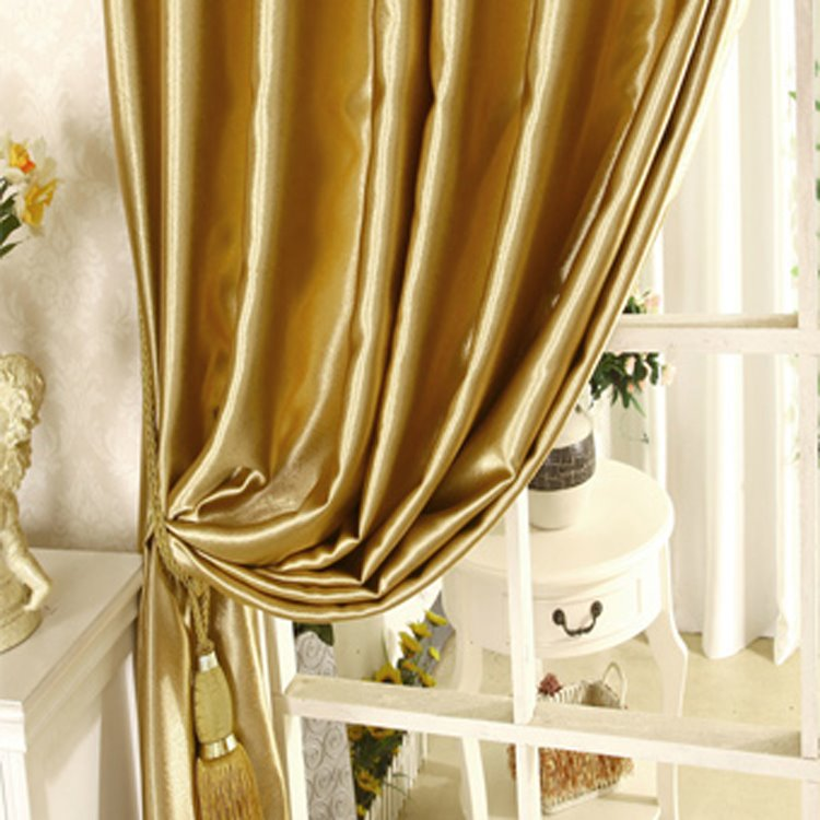 Classical Luxury Golden Blackout Solid Grommet Top Curtain