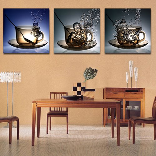 Creative Cup and Water 3-Piece Crystal Film Art Wall Print 11275147