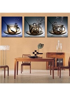 Creative Cup and Water 3-Piece Crystal Film Art Wall Print