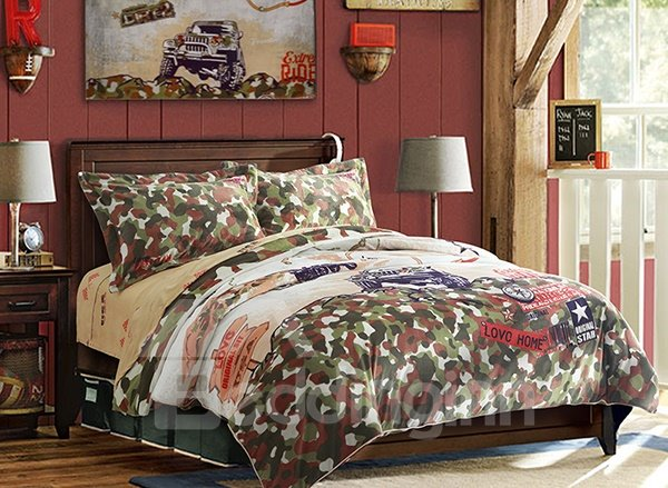 camouflage print 4 piece coral fleece duvet cover sets camouflage