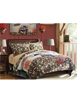Camouflage and Map Print 4-Piece Cotton Duvet Cover Sets