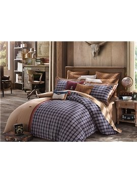 Top Class Checked Pattern 4-Piece Cotton Duvet Cover Sets